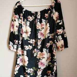 Boohoo Plus Audrey Floral Off Shoulder Dress